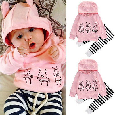 Striped Toddler Infant Baby Girls Clothes Tops Hoodie T-shirt+Long Pants Outfit