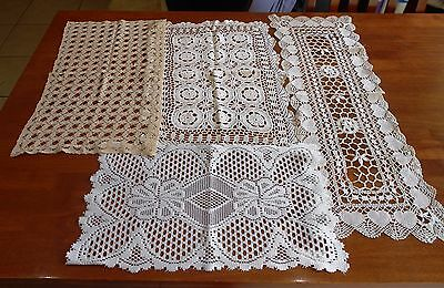 Lot Of 4 X Vintage Crochet & Filet Lace Runners Longest 80Cm