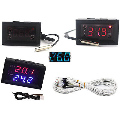 DC 12V Red Blue Thermostat+3-Digit NTC Probe Controller Replace W1209WK UK