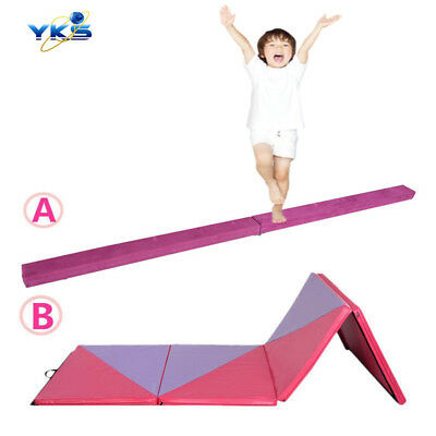 UK Top Suede Gymnastics 8ft Balance Beam /3M Panel Mat Home Fitness Exercise PR
