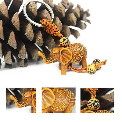 Cute Hand-carved Elephant Wooden Crafts Pendant Key Chain Lover Gift Key Ring UK