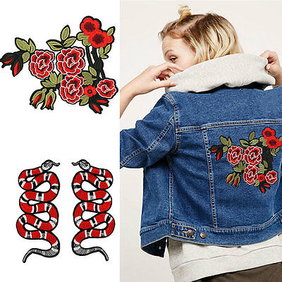 Snake Peony Embroidery Sew Iron On Patch Badge Clothes Fabric Applique UK