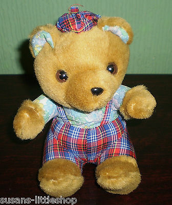 OSTOY HOLLAND Little TEDDY BEAR Wearing TARTAN DUNGAREES & HAT