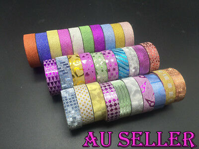 Bulk Lot 10-50 Rolls Glitter Washi Tape Scrapbook Craft DIY Paper Sticker 15mm