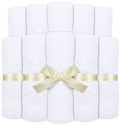 Washcloths Premium Bamboo For Baby White 10 Pack 10x10 Inches By Utopia Towels