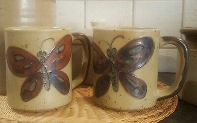 2 Vintage Butterfly Hand Glazed Coffee Mugs 1970's