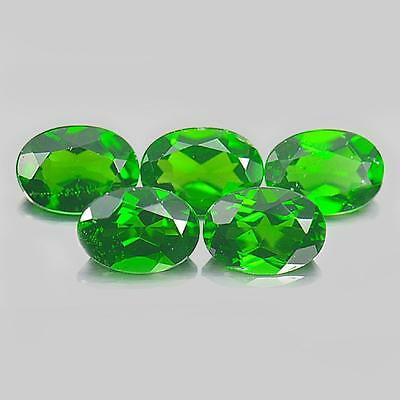 Unheated 4.05 Ct. 5 Pcs. Oval Shape Natural Gemstones Green Chrome Diopside