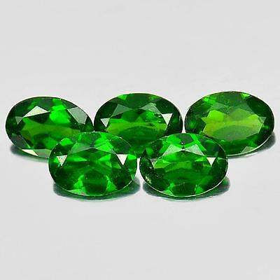 3.64 Ct. 5 Pcs. Oval Shape Natural Gemstones Green Chrome Diopside Unheated