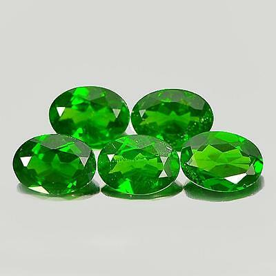 Unheated 3.89 Ct. 5 Pcs. Oval Shape Natural Gemstones Green Chrome Diopside
