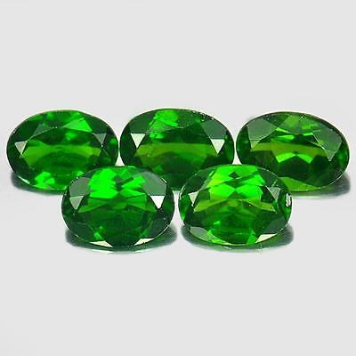 4.05 Ct. 5 Pcs. Natural Oval Shape Gemstones Green Chrome Diopside Unheated