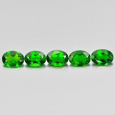 3.90 Ct. 5 Pcs. Oval Natural Gems Green Chrome Diopside Unheated From Russia