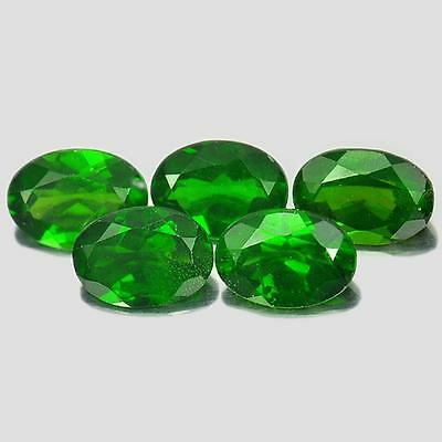 Unheated 4.13 Ct. 5 Pcs. Oval Shape Natural Gems Green Chrome Diopside Russia