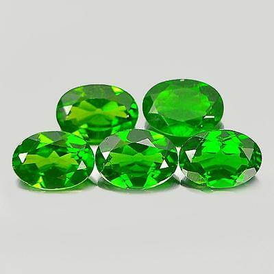 3.65 Ct. 5 Pcs. Oval Shape Natural Gemstones Green Chrome Diopside Unheated