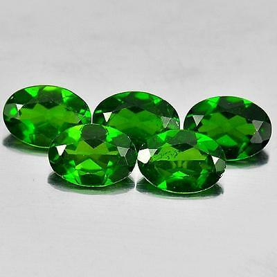 Unheated 3.63 Ct. 5 Pcs. Good Oval Shape Gemstones Natural Green Chrome Diopside