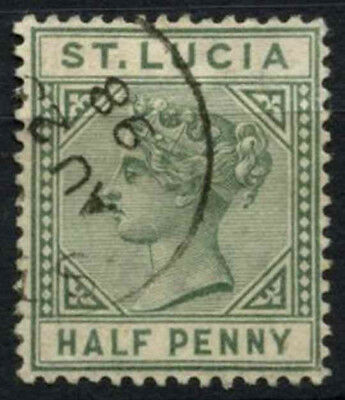 St. Lucia 1891-8, 1/2d Green QV Die II Used #D54547