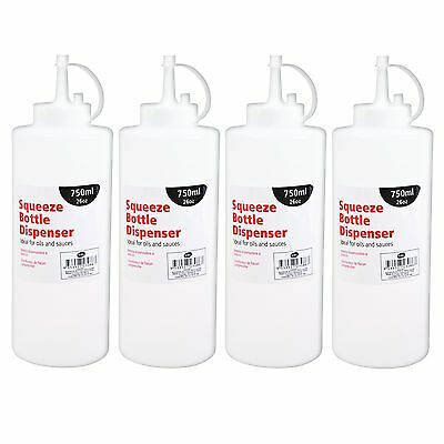 4 x 26oz 750ml Prep Squeeze Bottle Dispenser Oil Sauce Restaurant Kitchen