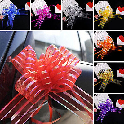 10Pcs Large Organza Pull Bows Ribbon Sheer Wedding Favors Gift Box Wrap