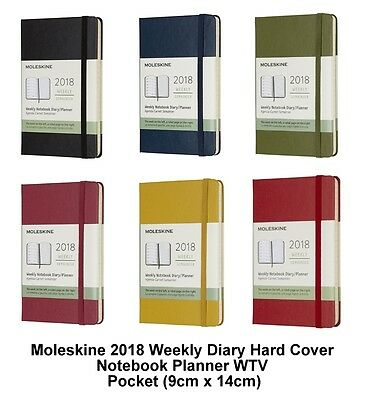 Moleskine 2018 Diary Weekly Planner Hard Cover Notebook WTV (Pocket 9cm x 14cm)