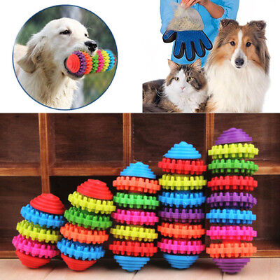 Durable Rubber Pet Dog Puppy Cat Dental Teething Healthy Teeth Gums Chew Toys HX