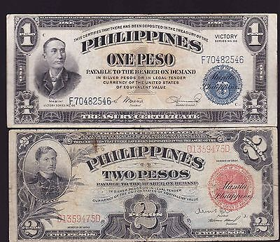 US Philippines Banknote 2 pesos 1936 Treasury Certificate + 1 peso Victory