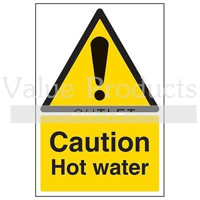 VSafety Warning Temperature Sign - Caution Hot Water - Portrait