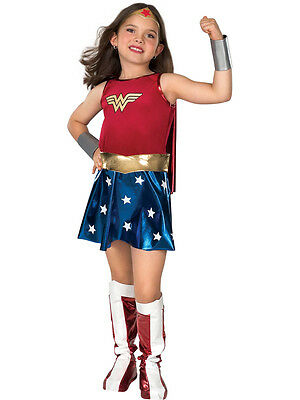 Licensed Child Wonder Woman Deluxe Fancy Dress Costume Kids Girls Ages 3-10