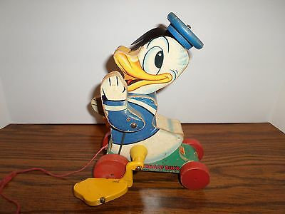 1955/Donald Duck/Talking Pull Toy/Disney/#765/Made in the USA/Fisher Price