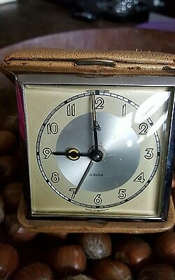 Vintage 4 Rubis German Travel Alarm Clock in Hard Case