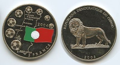 GS266 - Kongo 5 Dollars 2003 Fussball EM 2004 Portugal Colorauflage Multicolor