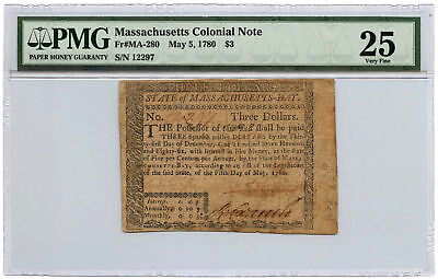 May 5, 1780 Massachusetts Colonial Note $3 PMG VF-25 Fr #MA-280