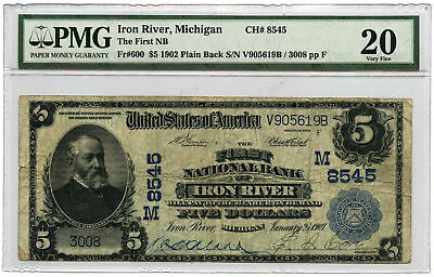 1902 $5 Banknote Plain Back First NB of Iron River, MI PMG VF-20 Ch #8545