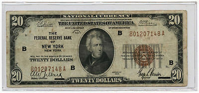 1929 $20 FRB Banknote The Federal Reserve Bank of New York, NY Fr #1870-B