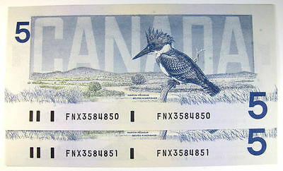 """1986 Bank of Canada $5.00 - Five Dollars  """"Replacement Note FNX """" Large F"""
