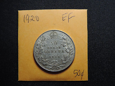 "1920 50 Cent Coin Canada King George V Small ""0"" N0 .800 Silver Ef Condition"