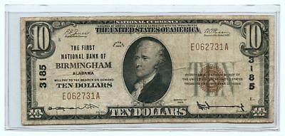 1929 $10 Banknote Type 1 The First National Bank of Birmingham, AL Ch #3185