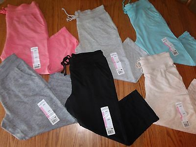 Nwt Womens Eddie Bauer Sweat Capri Capris Pants Black Oatmeal Gray Aqua Coral