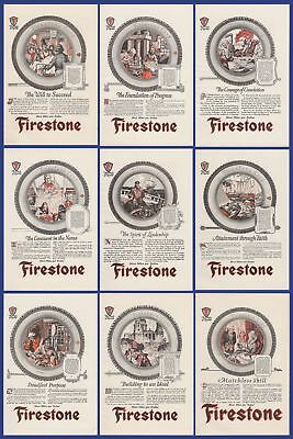 Lot of 9 Vintage Antique FIRESTONE Tire Print Ads from 1923 Garage Decor 20's