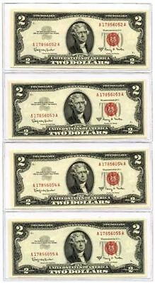 Set of 4 Consecutive 1963A $2 United States Legal Tender Notes UNC Fr #1514