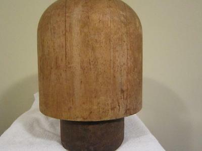 "Vtg  Wood Crown On Stand 29 !/2"" /millinery Wood Hatmaking Block/form/mold/brim"