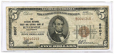 1929 $5 Banknote Citizens National Trust & Savings Bank Riverside, CA Ch #8907