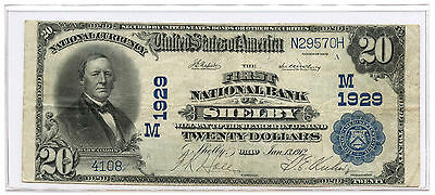 1902 $20 Banknote Plain Back The First National Bank of Shelby Ch #1929