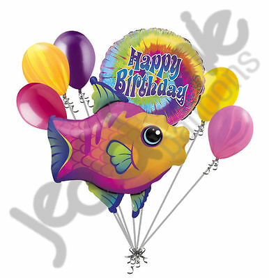 7 pc Fanciful Fish Balloon Bouquet Happy Birthday Baby Shower Ocean Sea Colorful