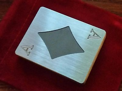 Stainless Steel, Poker Card Protector, Card Guard, Paper Weight, ACE OF DIAMONDS