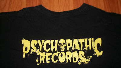 INSANE CLOWN POSSE Psychopathic Records GLOW IN DARK Skull Hatchet T-Shirt L ICP