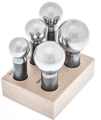 Dapping Punch Set 5 Large Steel Punches w/ Wood Block for Forming Doming Jewelry