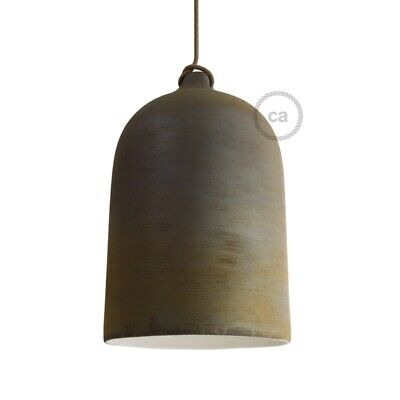 Bell, XL ceramic Lampshade for pendant, corten, rust, Made in Italy.
