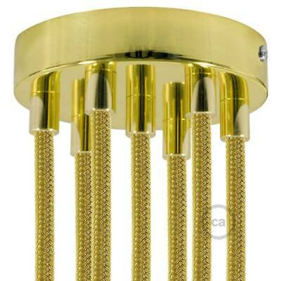Brass 120 mm 7 hole ceiling rose kit with cylindrical brass plated cable retaine