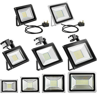 PIR Motion Sensor LED Floodlight UK Plug 10W 20W 30W 50W Outdoor Security Lamp