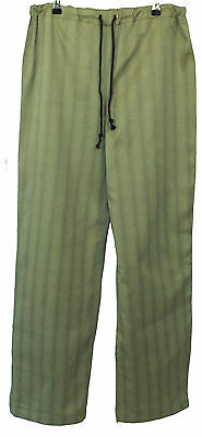 Light Olive Green Check Renaissance Medieval Cotton Trousers Size S 32-34W LARP