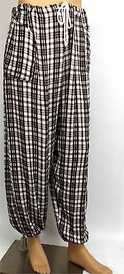 Brown White Check Hero Pants Pirate Medieval Baggy Trousers One Size 30-46W LARP